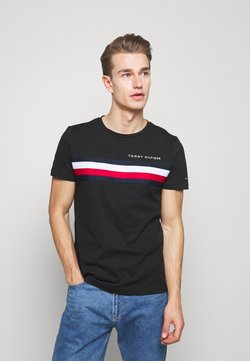 Tommy Hilfiger - GLOBAL STRIPE TEE - T-shirt con stampa - black