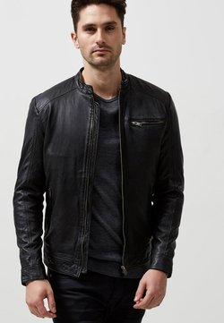 Selected Homme - Veste en cuir - black