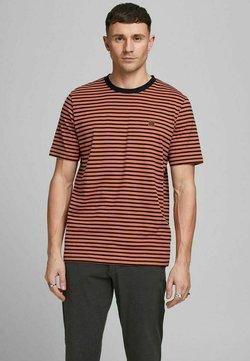Jack & Jones PREMIUM - GESTREIFTES - T-Shirt print - mecca orange