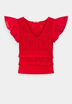 TWINSET - MAGLIA  SCOLLO V  - Camiseta estampada - corallo