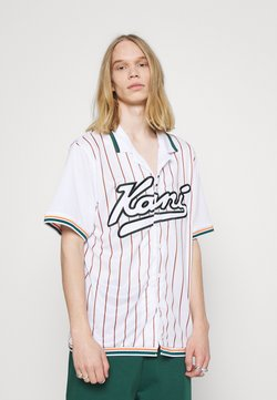 Karl Kani - VARSITY BLOCK PINSTRIPE BASEBALL SHIRT - Hemd - white