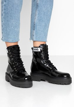 Tommy Jeans - PATENT FLATFORM BOOT - Plateaustiefelette - black