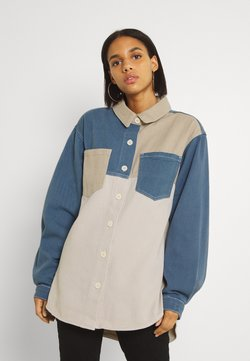 Missguided - COLOURBLOCK OVERSIZED SHIRT - Camisa - stone