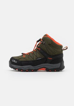 CMP - RIGEL MID SHOE WP UNISEX - Chaussures de marche - olive/orange fluo