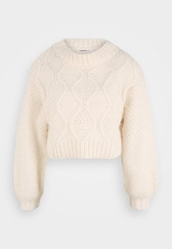 Glamorous Petite - CROP JUMPER WITH LONG SLEEVES AND BOAT NECK - Jersey de punto - off white