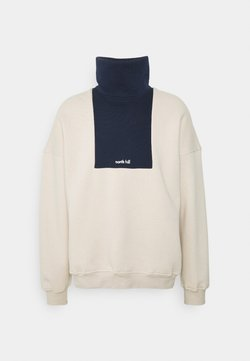 NORTH HILL PARIS - COLORBLOCK LOGO TURTLENECK - Sweatshirt - beige/navy