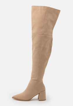 Missguided - LOW BLOCK HEEL BOOTS - Over-the-knee boots - cream