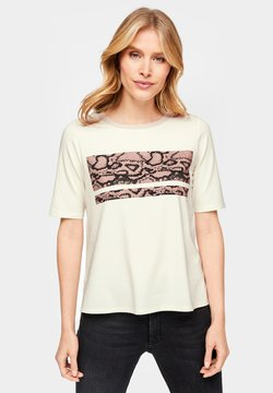 s.Oliver BLACK LABEL - MIT GLITZER-ARTWORK - T-Shirt print - cream