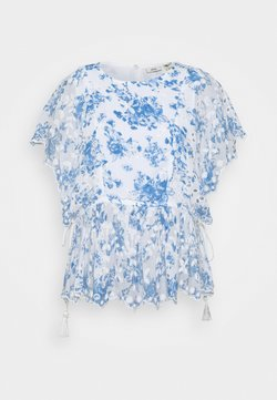 River Island - EMBROIDERED WAISTED - Bluse - blue