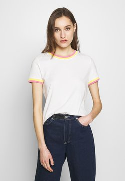 TOM TAILOR DENIM - TEE WITH CONTRAST NECK - T-shirts print - off white