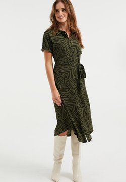 WE Fashion - DAMES OVERHEMD MET DESSIN - Vestido camisero - dark green