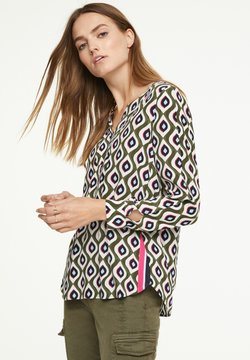 comma casual identity - MIT TAPE-DETAIL - Bluse - khaki graphic print