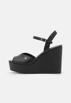 Calvin Klein Jeans - WEDGE ANKLE - Korkeakorkoiset sandaalit - black