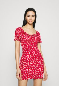 Missguided - DITSY FRILL DETAIL PUFF SLEEVE DRESS - Jerseyjurk - red