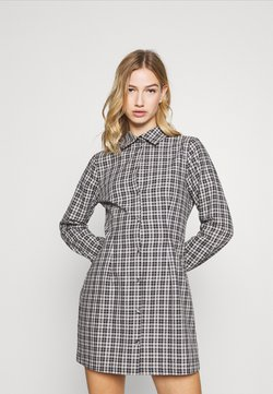 Milk it - CHECK FITTED DRESS LONG SLEVE - Shirt dress - black
