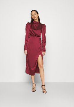 Glamorous - DRAPED WRAP MIDAXI DRESS WITH LONG SLEEVES HIGH NECK AND FRONT - Cocktail dress / Party dress - wine