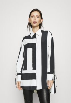 Topshop - STRIPE CHUCK ON  - Bluse - black/white