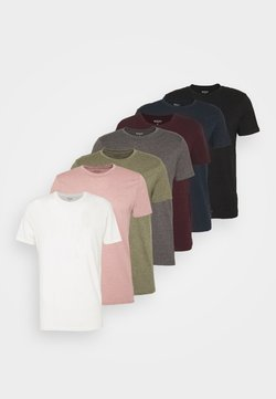 Burton Menswear London - SHORT SLEEVE CREW 7 PACK  - T-paita - black/white/charcoal/navy/burgundy/dusty olive