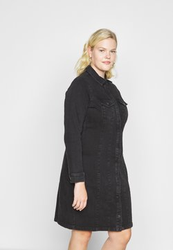 Vero Moda Curve - VMAVIIS STITCH DRESS  - Denim dress - black