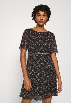 Vero Moda - VMSYLVIA BELT SHORT DRESS - Freizeitkleid - black/rose flowers
