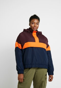 Urban Classics Curvy - LADIES PULL OVER JACKET - Windbreaker - redwine/midnightnavy