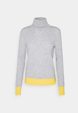 pure cashmere - TURTLENECK COLOR BLOCK - Strickpullover - light grey/yellow