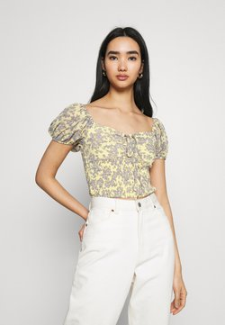 Missguided - FLORAL RUCHED NECK SHIRRED WAIST - Bluse - yellow