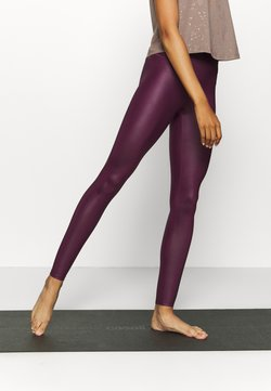 South Beach - WETLOOK HIGHWAIST LEGGING - Medias - burgundy