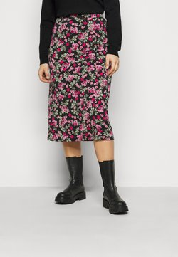 Simply Be - FLORAL MIDI SKIRT - A-Linien-Rock - black