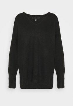 Vero Moda - VMPLAZA VNECK LONG - Pullover - black