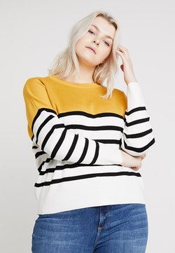 New Look Curves - MARIE CLEAN COLOUR BLOCK JUMPER - Neule - orange/yellow patt