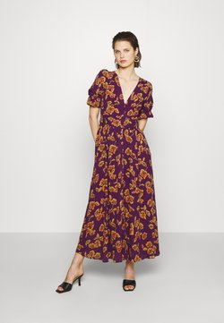 Who What Wear - THE BELTED PUFF SLEEVE DRESS - Długa sukienka - pop art purple