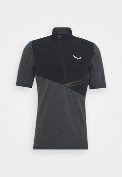Salewa - AGNER HYBRID DRY ZIP TEE - T-Shirt print - black out melange