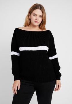 Missguided Plus - STRIPE OVERSIZED JUMPER - Pullover - black