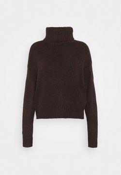 New Look - ROLL JUMPER - Stickad tröja - dark brown