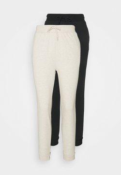 Even&Odd - 2er PACK - Slim fit joggers - Jogginghose - black/mottled beige