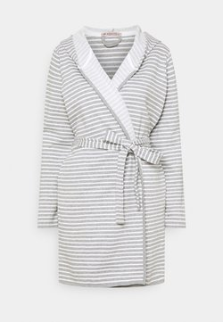 Anna Field - STRIPE FLANNEL BATHROBE  - Bademantel - grey/white