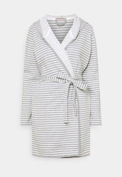 Anna Field - STRIPE FLANNEL BATHROBE  - Peignoir - grey/white