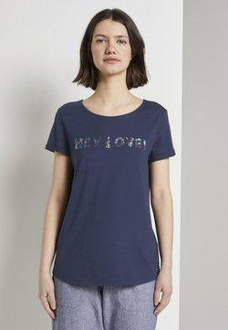 TOM TAILOR DENIM - T-SHIRT T-SHIRT MIT PAILLETTEN-SCHRIFTZUG - T-Shirt print - real navy blue