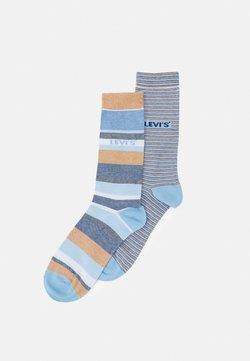 Levi's® - REGULAR CUT MICRO STRIPE 2 PACK - Socken - brown/blue
