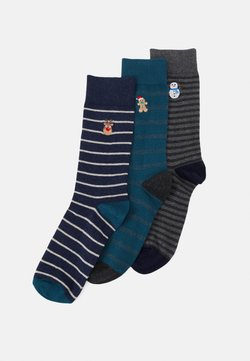 Pier One - 3 PACK - Socken - mottled blue/mottled grey/teal