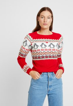Dorothy Perkins - CHRISTMAS FAIRISLE TINSEL PENGUIN - Jumper - red