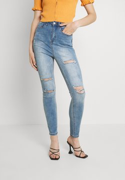 Missguided - SINNER WAISTED AUTHENTIC RIPPED - Jeansy Skinny Fit - blue