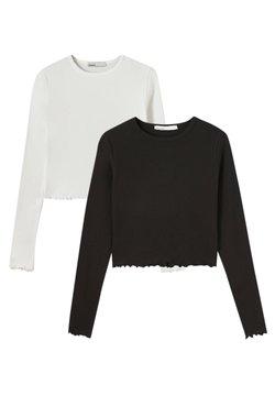 PULL&BEAR - 2 PACK - Maglietta a manica lunga - black