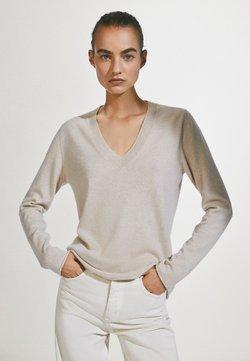 Massimo Dutti - MIT V-AUSSCHNITT  - Sweter - beige