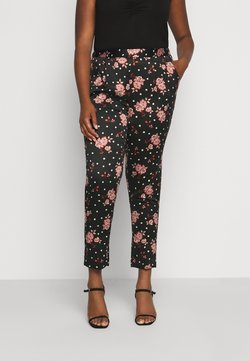 CAPSULE by Simply Be - PRINTED TAPERED TROUSERS - Trousers - black/coral