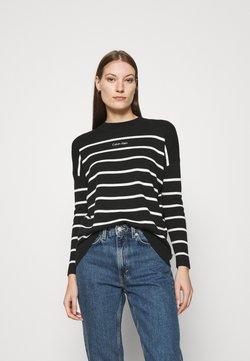 Calvin Klein - STRIPE LOGO A LINE SWEATER - Strickpullover - black