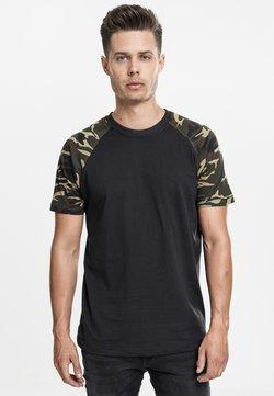 Urban Classics - RAGLAN CONTRAST  - Camiseta estampada - black/ ochre
