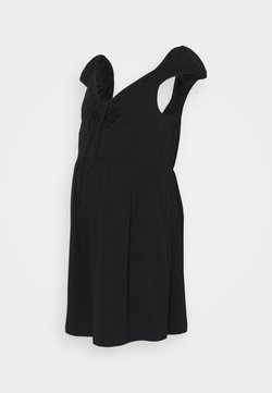 Glamorous Bloom - SHORT SLEEVE PLAYSUIT WITH LOW NECKLINE AND FRONT TIE DETAIL - Combinaison - black pointelle