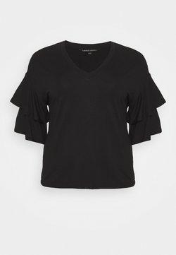 CAPSULE by Simply Be - DROP SHOULDER FRILL - T-Shirt print - black